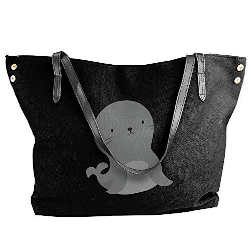 Cartoon Large Hobo Bag Tote Black Handbag Canvas Lion Shoulder Women's Sea aPTg6ZWg