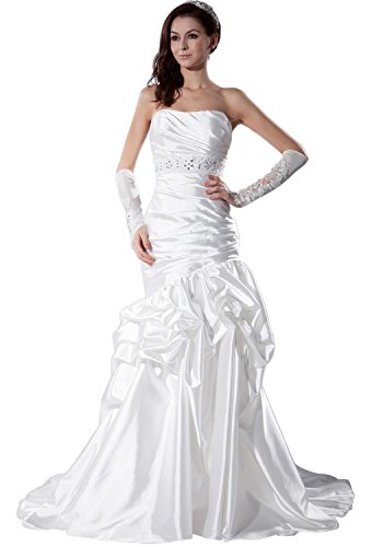 - Angel Formal Dresses Strapless Elastic Silk Like Satin Court Train Wedding Dress (18,White)