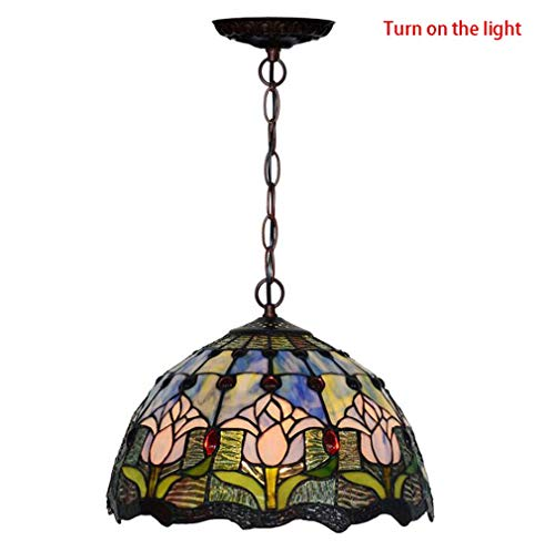 Tiffany Style Pendant Light, Stained Glass Blue Tulip Pattern Pendant Lamp Shade, Living Room Kitchen Island 1-Light Art Deco Chandelier,110-240V/E271 ()