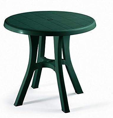 Mesa redonda para exterior verde bosque, mesa resina diámetro 70 ...
