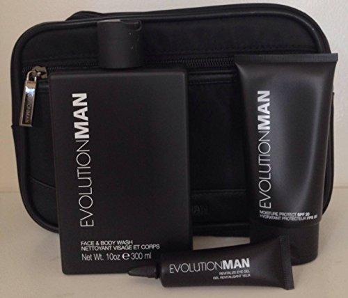Evolution Man Kit NuNoir Face & Body Wash, Revitalize eye gel, Moisture Protect SPF 20 lotion and - Bag Evolution