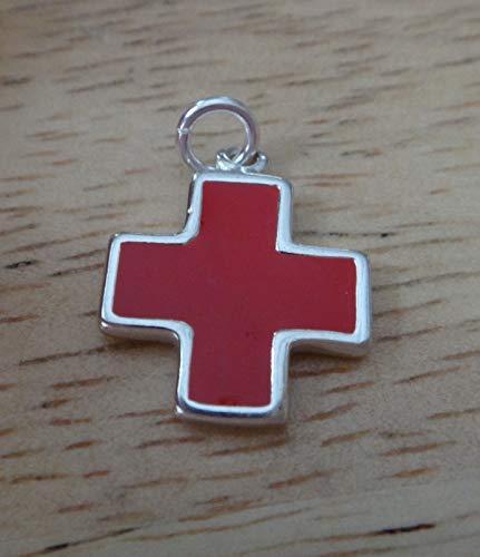 Fine Charms Sterling Silver 14x18mm Red Cross Enamel on 1 Side Medical ID Alert ()
