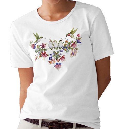 Mystic Stitch Chart - Hummingbird Family T-shirt/tee by Valerie Pfeiffer - Small