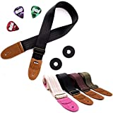 Guitar Strap for Acoustic, Electric and Bass Guitars, Straps Fits also Mandolins and Ukuleles by Hola! Music, Pro Series with Genuine Leather Ends, Pick Pocket, 3 Picks and 2 Strap Locks - Black