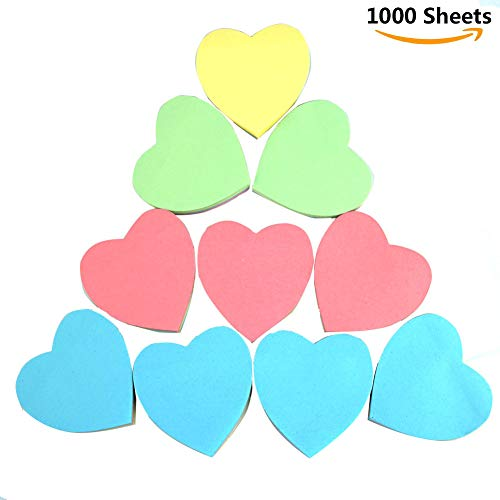 Sticky Notes - Mixed Color Funny Memo Pad Sticker Note Pad for Teachers/Students/Home/Clerk/Assistant/Office/School 1000 Sheets-Heart Shape