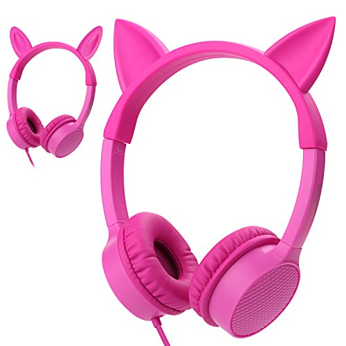 Kids Headphones, Vogek 2 in 1 Cat/Bunny Ear Wired On-Ear Headphones Headsets with 85dB Volume Limited, Children Headphones for Kids (Pink)