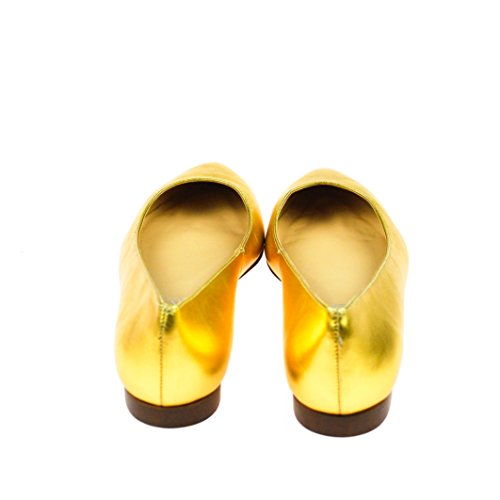 EYE Damen Ballerinas Halbschuh Leder Gold