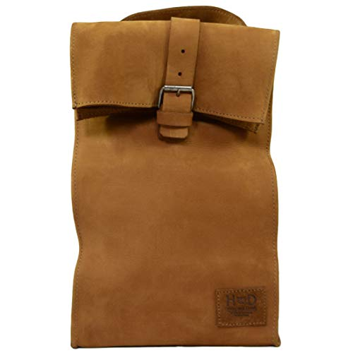 Hide & Drink, Leather Reusable Lunch Bag w/Grip Easy Carry for Work/Travel, Handmade :: Old Tobacco