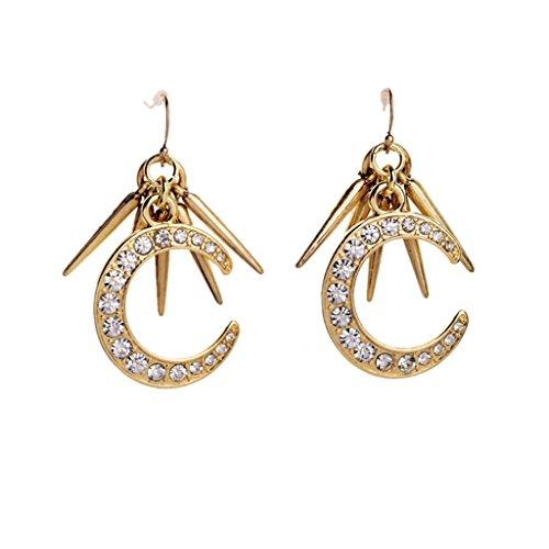 Half Moon Dangle (Jili Online Fashion Vintage Crystal Rhinestone Half Moon Dangle Earrings for Women Ladies Party Jewelry)