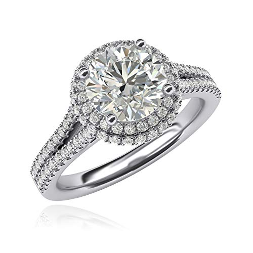 (Women Solid Sterling Silver Simulated 2.0ctw Brilliant Round Diamond Engagement Ring Dual Halo Split Shank (8.5))