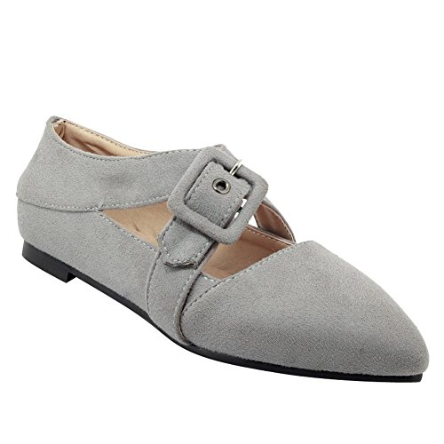 Carolbar Women's Solid Color Charm Pointed Toe Flat Buckle Casual Shoes Grey