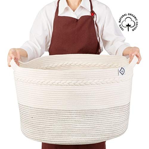 ZIKIMICO Extra Large Cotton Rope Basket - 21.7 x 13.8 Woven Laundry Hamper - Baby Toys Storage & Throw Blankets Organizers - Decor Jumbo Size Bin with Handles - Collapsible Bathroom Storage