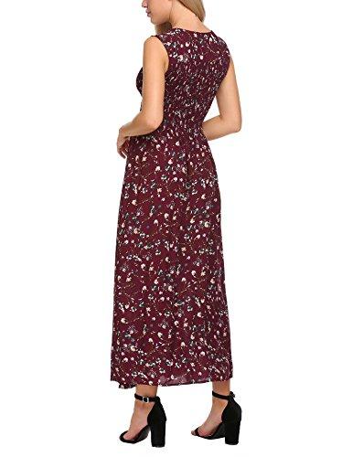 Acevog Floral Manches Rétro Féminin Imprimé Taille Smockée À Long Motif Rouge Robe Maxi