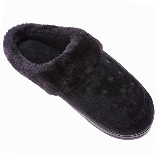 Winter Shoes Outdoor House Indoor Lined Slippers Fleece Warm Black Mens Super Cozy Slippers TRUEHAN wqX4zpR