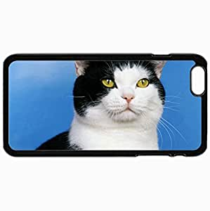 Personalized Protective Hardshell Back Hardcover For iPhone 6 Plus, Cat Spotted Muzzle Eyes Design In Black Case Color