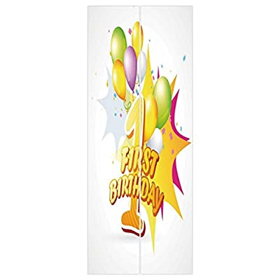 3d Door Wall Mural Wallpaper Stickers [ 1st Birthday Decorations,First Celebration Excitement for Baby with Party Balloons,Hot Pink and Yellow ] Mural Door Wall Stickers Wallpaper Mural DIY Home Decor