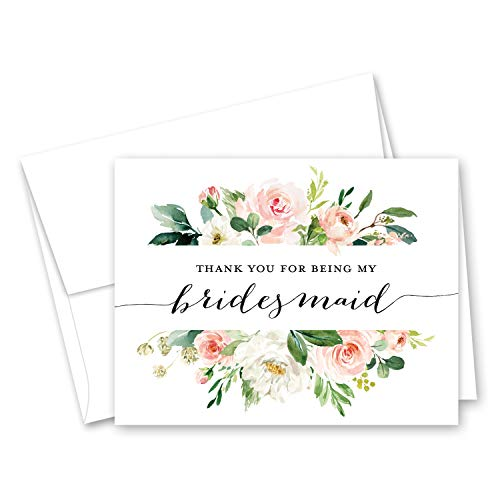 (Blush Floral Bridesmaid Thank You Cards - Bridal Party Thank You Cards - Set of 10)