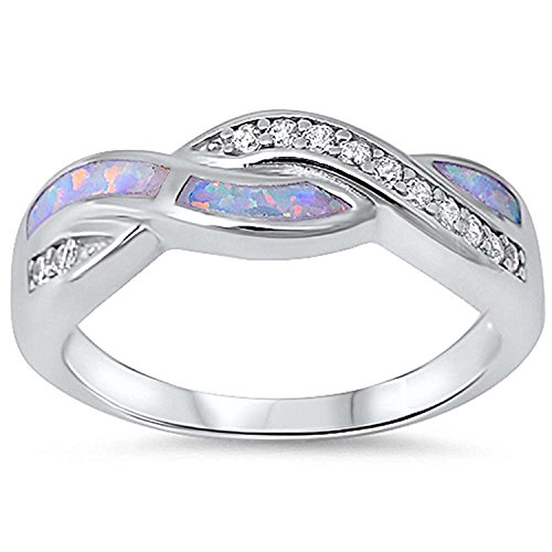 Cross Sterling Silver Wedding Bands - Twisted Crisscross Infinity Ring Irregular Shape Lab Created White Opal Round Cubic Zirconia 925 Sterling Silver, Size-6
