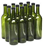 North Mountain Supply 750ml Champagne Green Glass Bordeaux Wine Bottle Flat-Bottomed Screw-Top Finish - with 28mm Black Plastic Lids - Case of 12