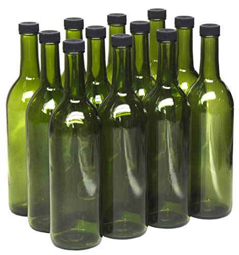 North Mountain Supply 750ml Champagne Green Glass Bordeaux Wine Bottle Flat-Bottomed Screw-Top Finish (Black Plastic -