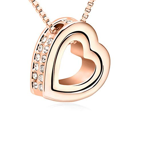 (Love Heart Necklace - Crystal from Swarovski Rose Gold Plated Pendant Necklace for Women Mom Gift (new rose))