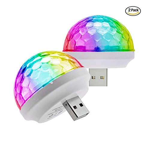 USB Mini Stage DJ Light Disco Ball Lamp Home Pajama Party Strobe Light Disco LED Bulb for Birthday Gift Club Wedding Celebration Karaoke Xmas Decorations (2-PACK)