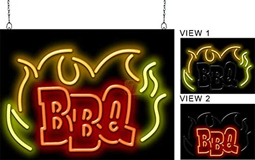 BBQ Flames Animated Neon Sign