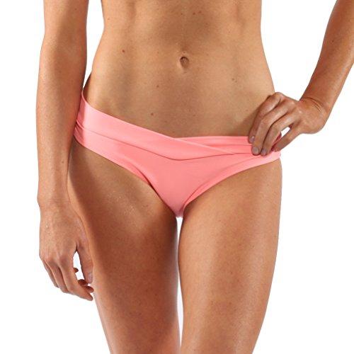 Coral World Pattern (Island Love Island World Women's Separates Solid Pattern Design V-Fold Bikini Bottom Light Coral XS)