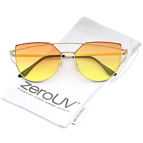 zeroUV - Midsize Matte Metal Frame Thin Temples Gradient Flat Lens Aviator Sunglasses 52mm (Gold / Orange-Yellow)