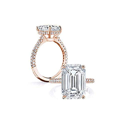 AINUOSHI 18k Rose Gold Plated Sterling Silver CZ Cubic Zirconia 6ct Emerald Cut Halo Promise Anniversary Engagement Ring (5.5)