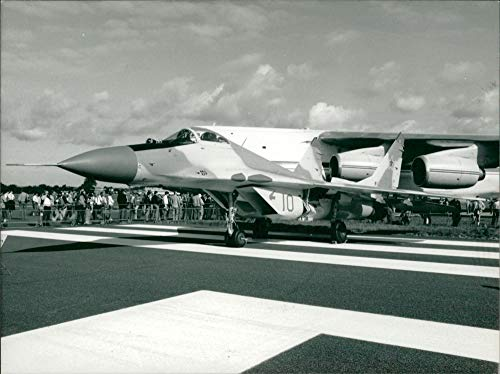 Vintage photo of MiG-29 aircraft: single seat twin engine fighter.