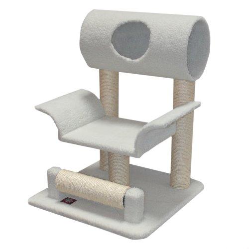 Majestic Pet Products 29 inch Cream Bungalow Cat Furniture Condo House Scratcher Multi Level Pet Activity Tree