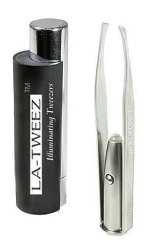 La-Tweez Illuminated Tweezer with Mirror & Case, Black