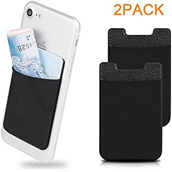 Amoner 2 Pack Cell Phone card Wallet, Ultra-slim Self Adhesive Card Holder Pouch Pocket for iPhone, Android & Most Smartphones, Black