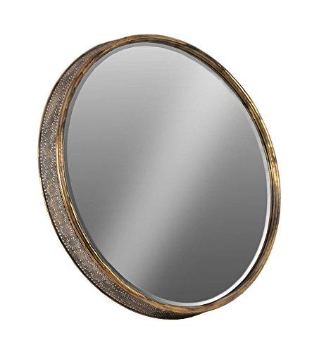 Urban Trends 94242 Metal Round Wall Mirror, Floral Pierced Metal Design Sides Metallic Antique Gold - Round Gold Mirror