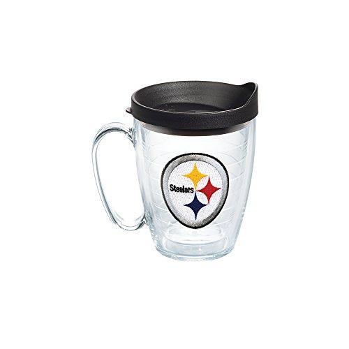 Tervis NFL Pittsburgh Steelers Emblem Individual Mug with Black Lid, 16 oz, Clear (Pittsburgh Steelers Travel Mug)