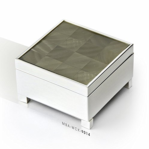 Stunning Musical Jewelry Box - Mother of Pearl Silver Checkered Finish – Suede Interior, 18 Note, 454 Song Choices – Perfect Music Box Gift by MusicBoxAttic