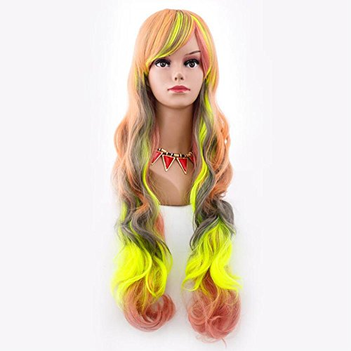 VOVOBB Color Cosplay Wig Natural Long Curly Hair Halloween Gradient Hairstyle 80cm False Head with Free Wig hat, rm-c-013