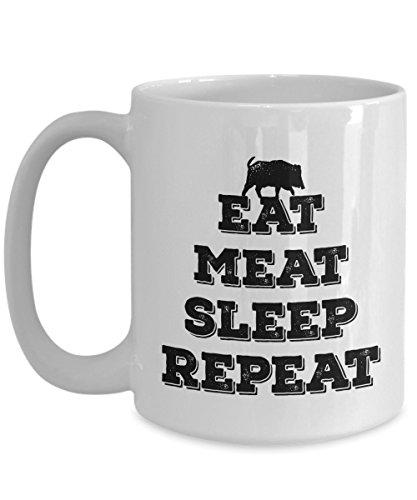 Meat Eater Mug - Eat Meat Sleep Repeat - Funny Hunting Mug - Bacon Coffee Cup