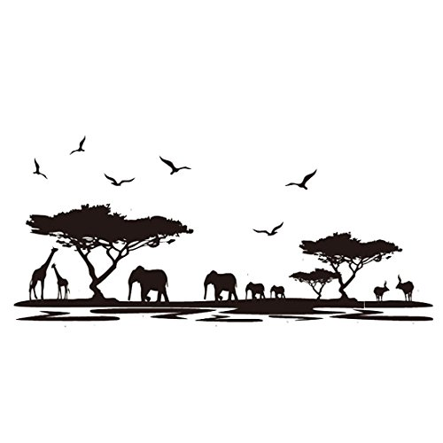 Sandistore African Animals Removable Wall Stickers Art Decals Mural for Room Decor