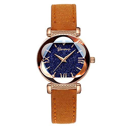 -  Orcbee  _Roman Star Dial Six Convex Sleek Minimalist Luxury Leather Strap Watch (Orange)