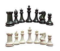 "Quadruple Heavy Weight Chess Game Set for Schools, Clubs and Tournaments - 34 Ivory/Black Pieces (2 Extra Queens), 4"" Tall King, 20"" x 20"" Black Vinyl Roll-Up Board and How to Play Chess E-Book"