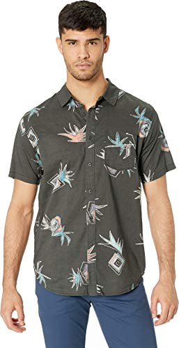 (Billabong Men's Sundays Floral Short Sleeve Woven Black Coral)