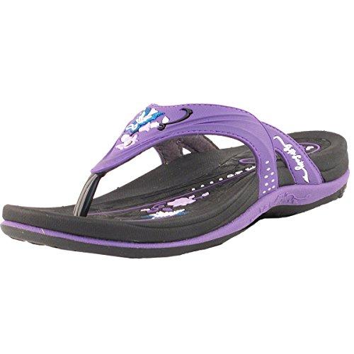 Gold Pigeon Shoes GP Signature Flip Flops for Women: 7532 Black Purple, EU40 (US Size 9-9.5)