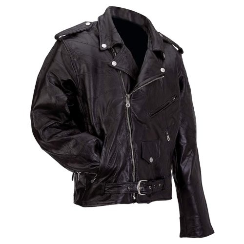 Leather Belted Motorcycle Jacket - 9
