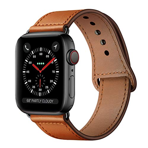 KYISGOS Compatible with iWatch Band 44mm 42mm, Genuine Leather Replacement Band Strap Compatible with Apple Watch Series 4 Series 3 Series 2 Series 1 42mm 44mm, Brown Dark Brown Leather Band