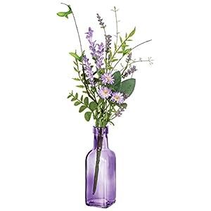 """Sullivans 15"""" Artificial Lavender Pick with 6"""" Purple Glass Vase 14"""