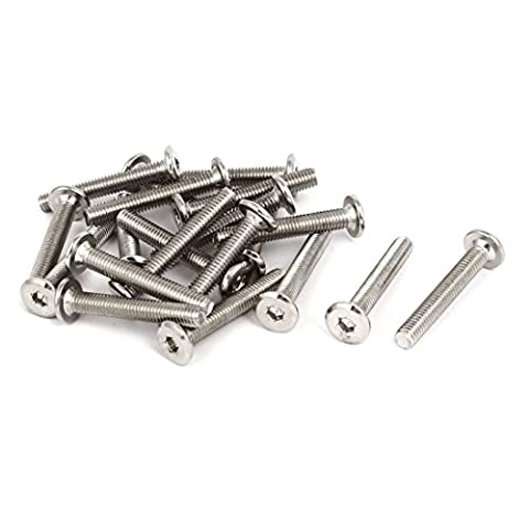 uxcell M6x40mm Nickel Plated Hex Socket Head Furniture Bolts Connector Fastener 20pcs - Nickel Plated Bolt