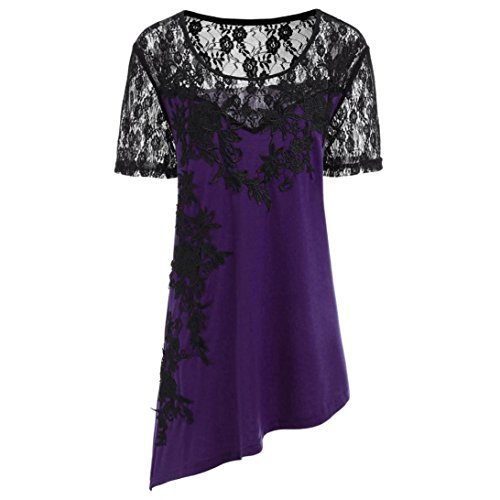 Joint 2018 Summer Women Plus Size Shirt Appliques Blouse Floral Lace Asymmetric T-Shirt Casual Loose Tops (X-Large, Purple)