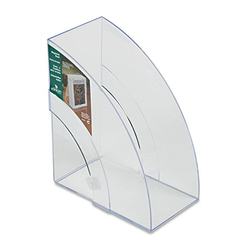 Rubbermaid Computer Carts - Rubbermaid Products - Rubbermaid - Optimizers Deluxe Plastic Magazine Rack, 5 1/4 x 9 x 11 1/8, Clear - Sold As 1 Each - Crystal clear plastic. - Attractive double-curve design. - Extra wide capacity.